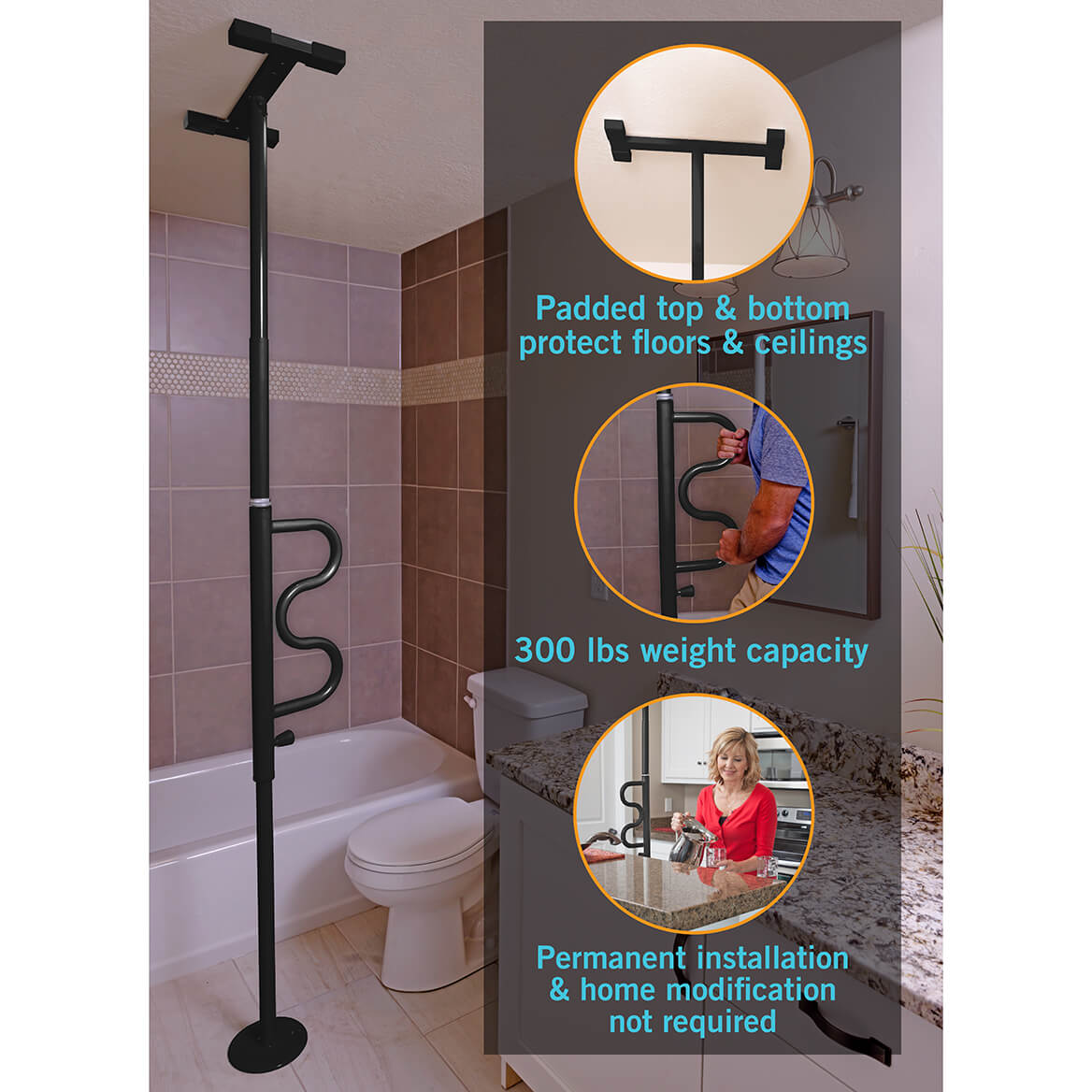 Security Pole with Rotating Grab Bar-333603