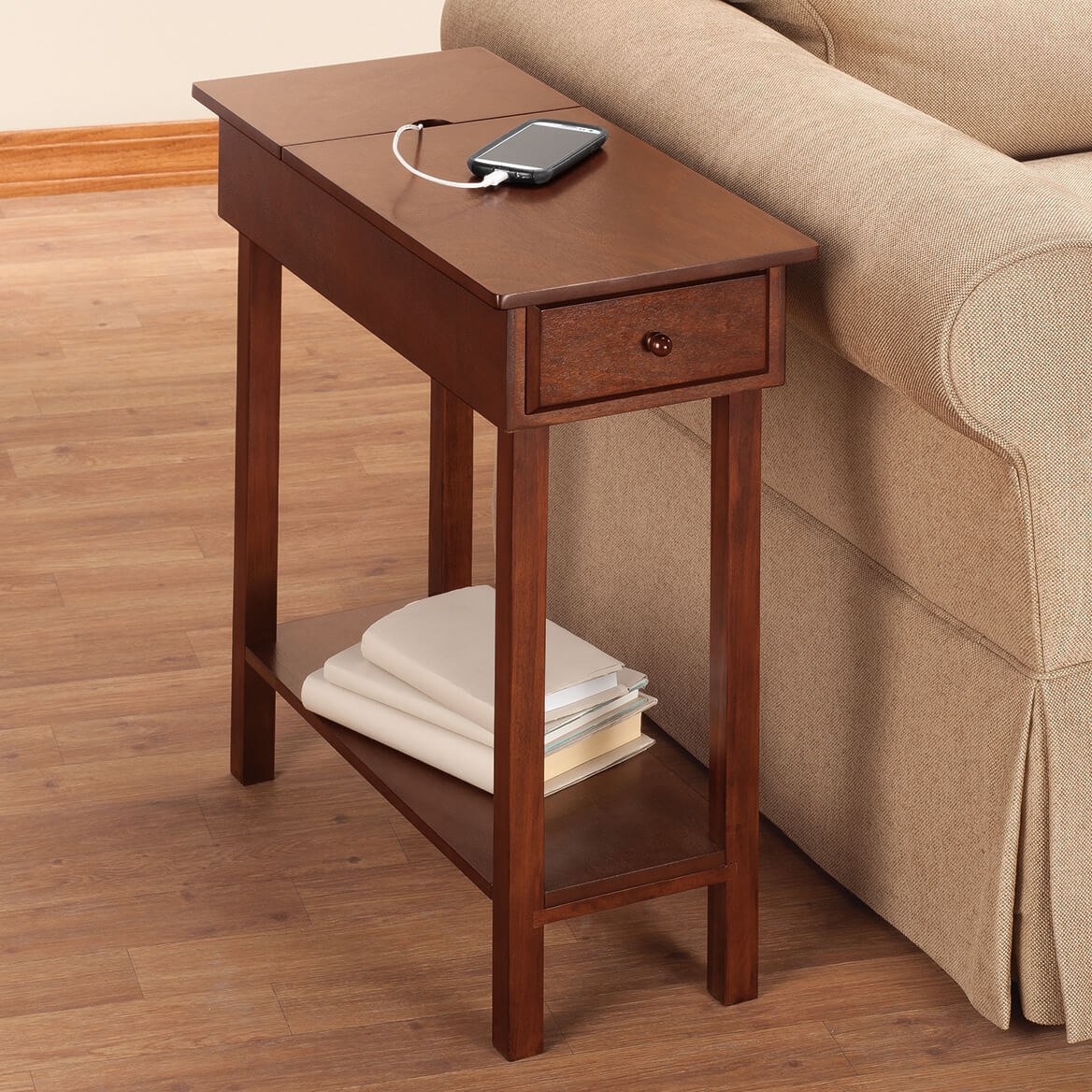 Chairside Table With Usb Strip By Oakridge