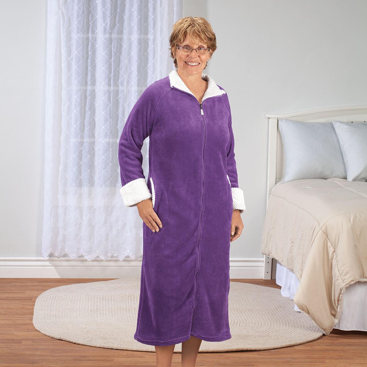 Plush Zipper Front Fleece Robe-370582