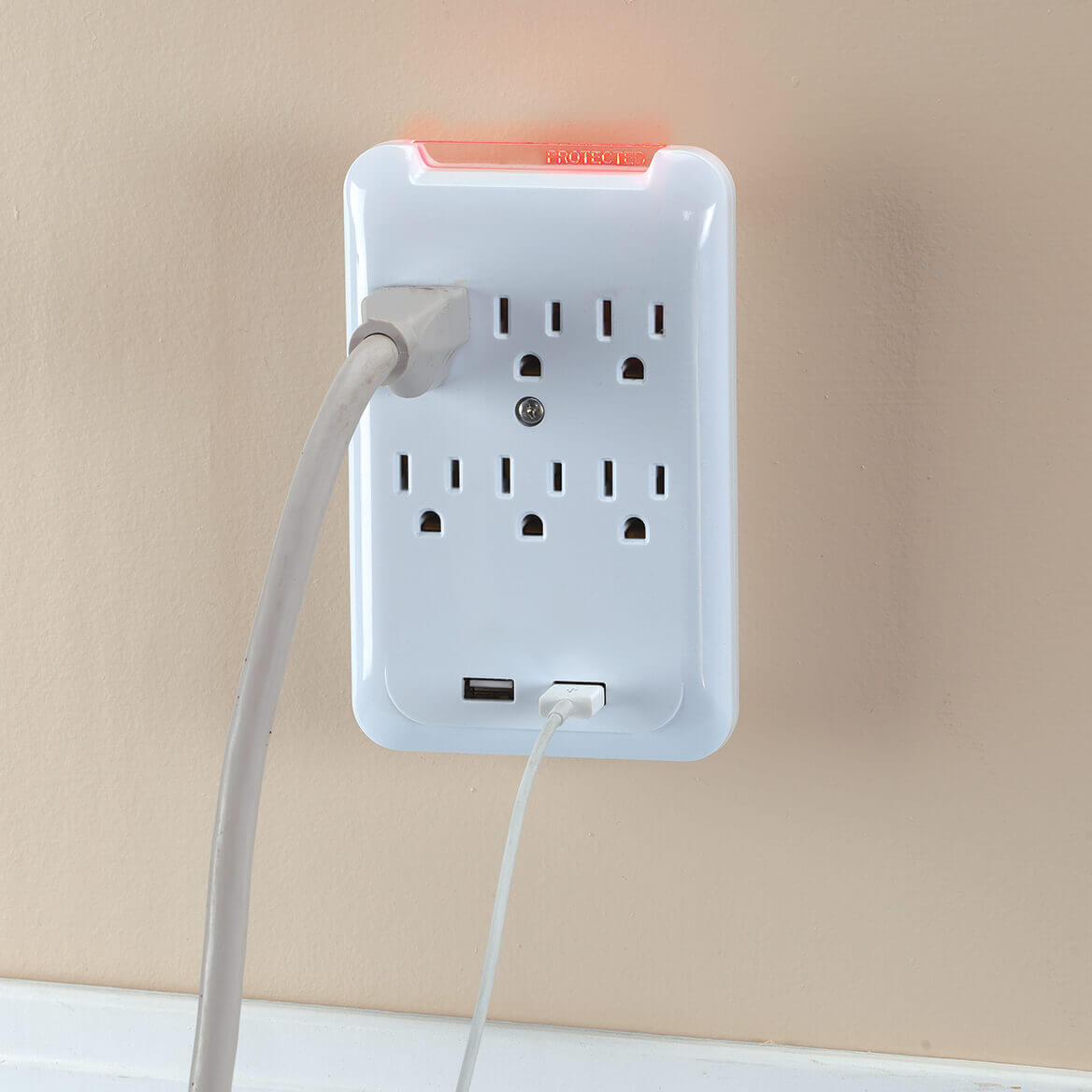 6-Outlet 2-USB Surge Protector Wall Tap-370713
