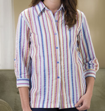 Stripe Roll-Tab Easy Shirt