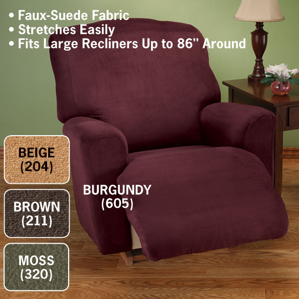 Faux Suede Large Recliner Slipcover - View 2