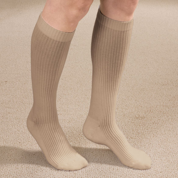Ribbed Cushion Cotton Compression Socks - View 3