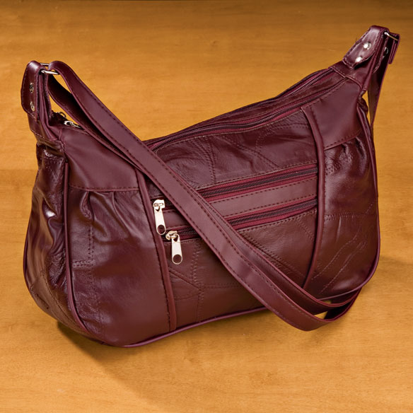 Burgundy Patch Leather Handbag - View 2