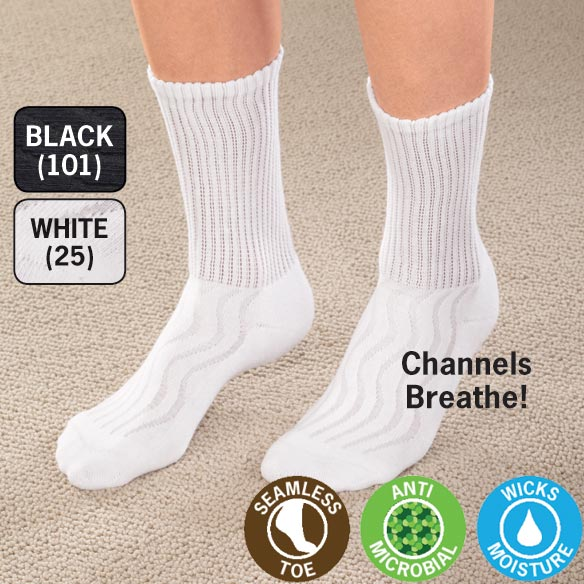 Wave-In Mesh Diabetic Crew Socks - View 2