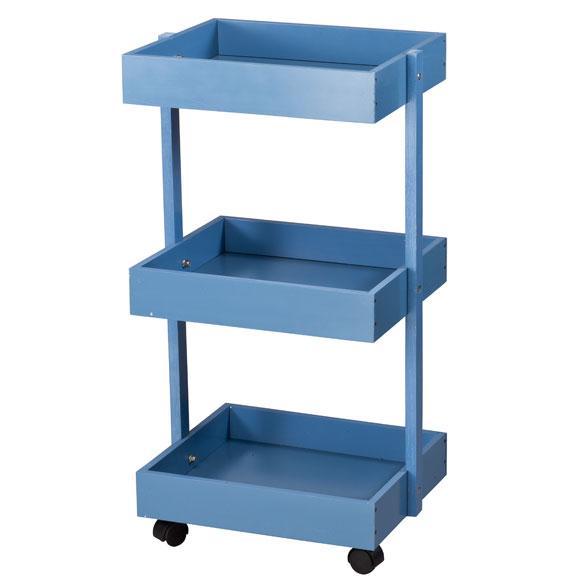Blue 3 Tier Wooden Rolling Cart By Oakridge Accents Easy