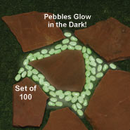 Outdoor - Glow In The Dark Stones - Set Of 100