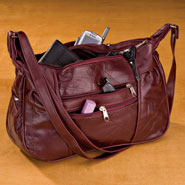 Apparel Accessories - Burgundy Patch Leather Handbag