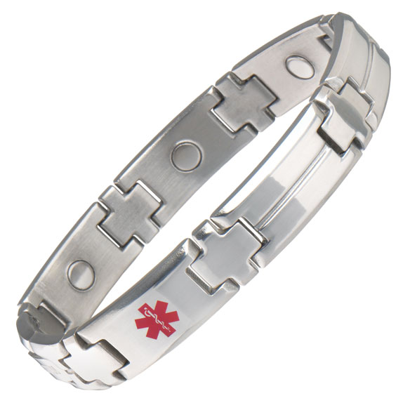 Men's Magnetic Diabetic Medical ID Bracelet