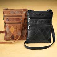 Diamond Patch Leather Messenger Bag