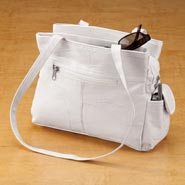 Apparel Accessories - White Patch Leather Handbag
