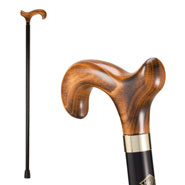 Men's Wood Cane with Derby Handle