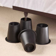 Bedding & Accessories - Black Bed Risers - Set of 4