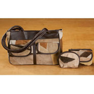 Clearance - Suede Patchwork Handbag And Accessories