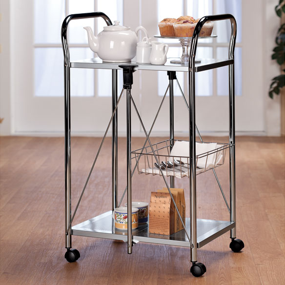 Lightweight folding cart metal utility cart easy comforts for Collapsible kitchen cart