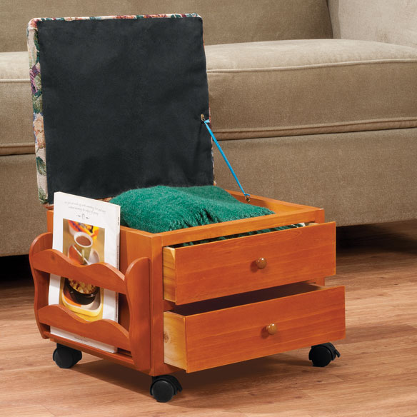 Roses Storage Rolling Ottoman by OakRidge Accents™