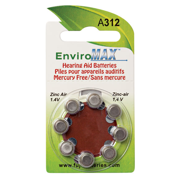 Fuji EnviroMax A312 Hearing Aid Batteries - 8-Pack