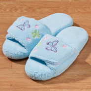Comfort Footwear - Memory Foam Light Blue Butterfly Slippers
