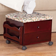 Furniture - Floral Vine Multi Storage Rolling Ottoman by OakRidge™ Accents