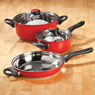Kitchen Helpers - 5 pc Red Stainless Cookware Set by Home-Style Kitchen™