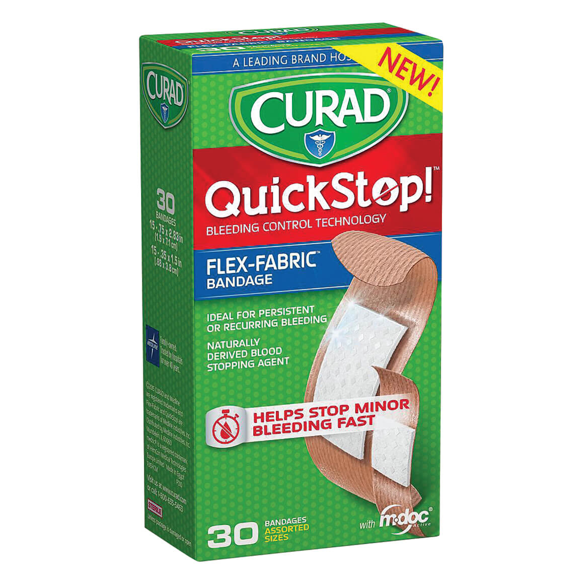 Curad® QuickStop Bandages Assorted Sizes, 30 Count-358124