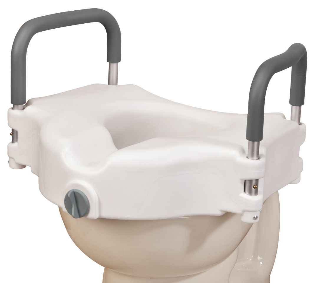 EasyComforts Locking Raised Toilet Seat with Padded Arms, Po